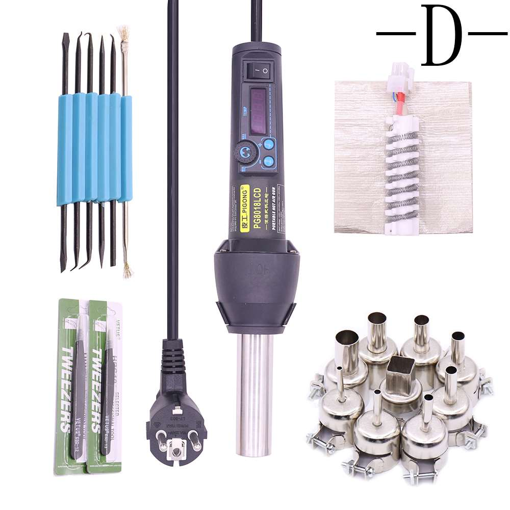 8018LCD 220V   110v 650W degree adjustable electronic hot air gun desoldering station   tweezers   auxiliary tools