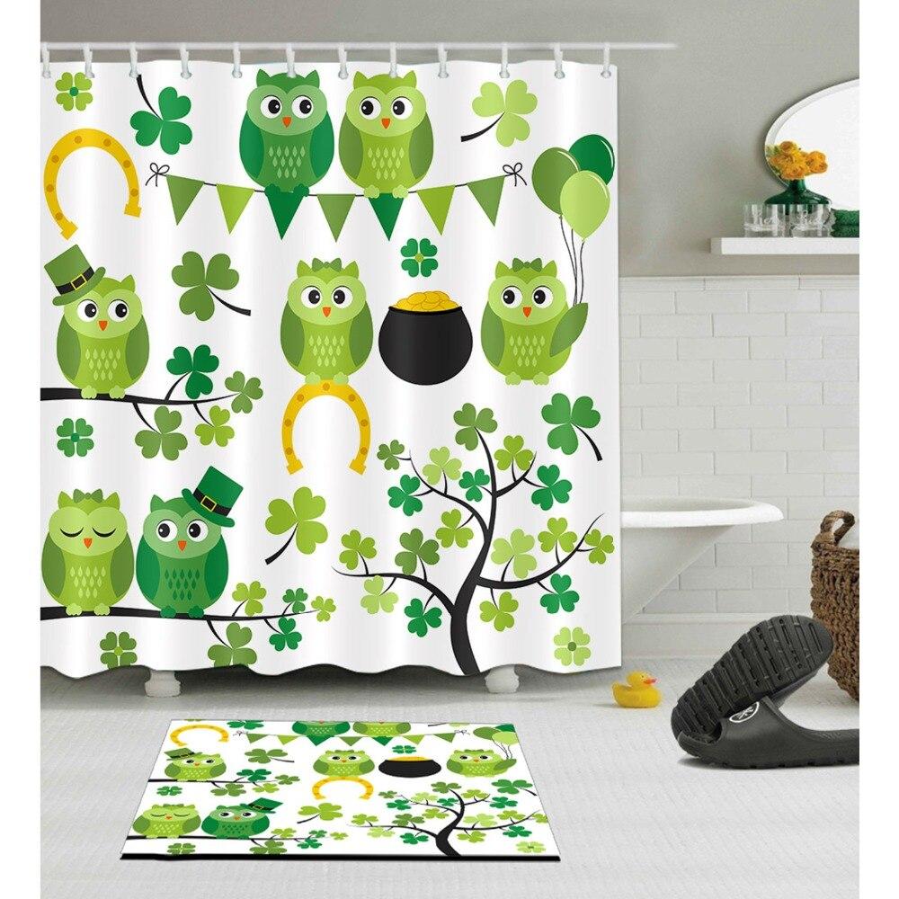 Birds Branch Shower Curtain Cartoon Owl