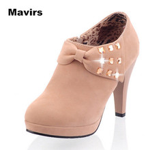Mavirs Fashion Women Ladies Girls Spring Autumn Shoes Lightclub High Heels Bow Short Boots PU Matte Leather Diamonds Pumps