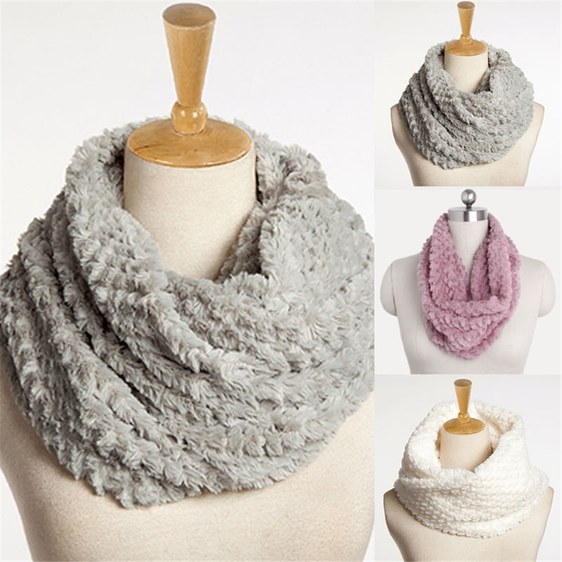 New Winter   Scarf   Fashion Women Faux Fur Infinity Circle Cable Cowl Neck Long   Scarf   Shawl   Wrap   Lady Girl Soft Solid Ring   Scarf