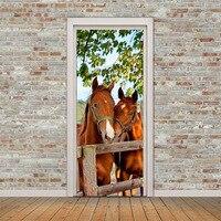 Horses Door Sticker Living Room Bedroom PVC Self Adhesive Waterproof Mural Wallpaper For Walls 3D Stickers