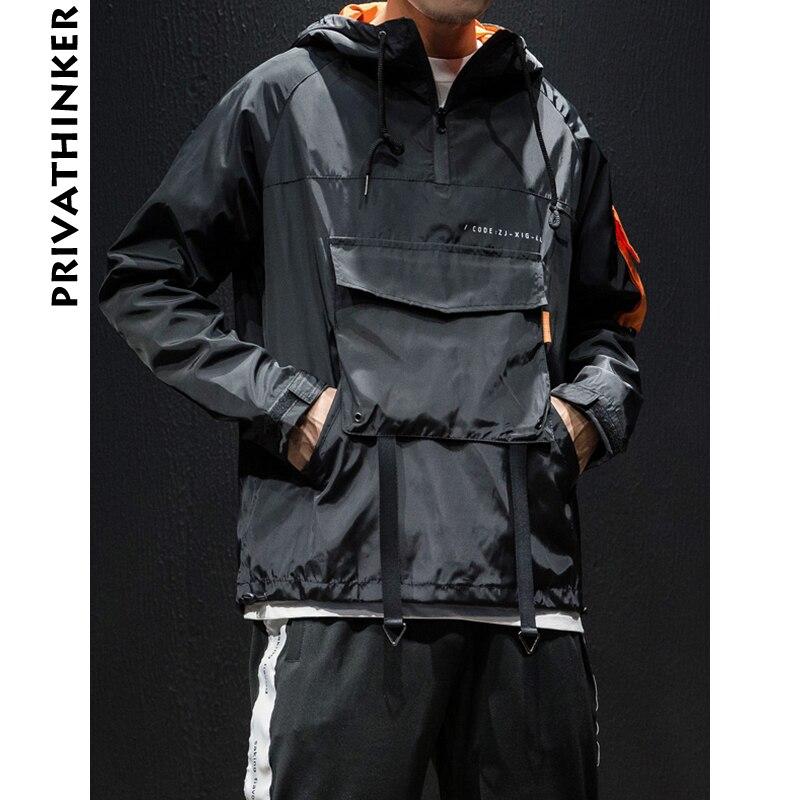 Privathinker Designer Men Zipper Hoodies 2020 Mens Pockets Sweatshirts Hooded Hoodie Male Hiphop Korean Loose Riobbon Pullover