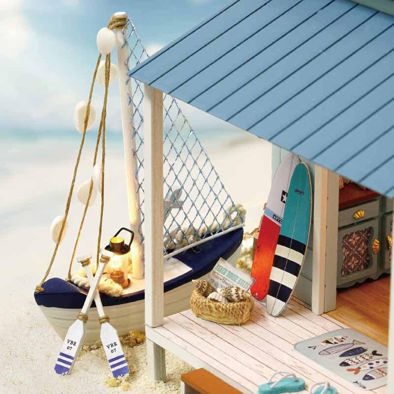 Śliczne pokój DIY zabawkowy dom dla lalek modelu z LED 3D drewniane meble miniaturowy dom zabawki prezenty urodzinowe na morze karaibskie A037 # E w Domy dla lalek od Zabawki i hobby na  Grupa 3