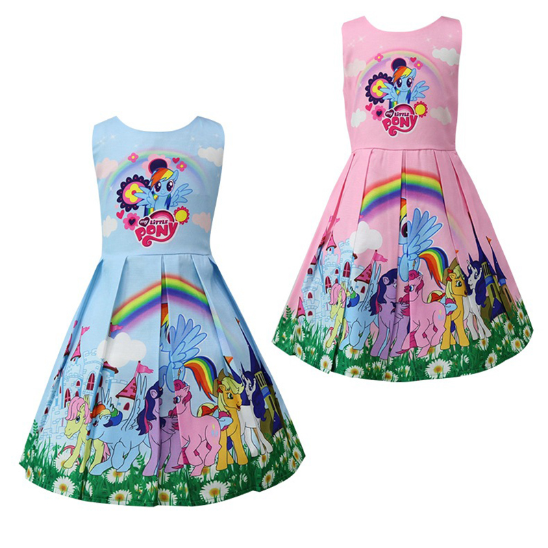 Kids Dresses For Girls Wedding 2018 My Little Poli Children's Clothing Girl Costume Cute Pony Princess Party Dress Rainbow Dress summer my baby girl fashion cotton dress children clothing girls little pony dresses cartoon princess party costume kids clothes