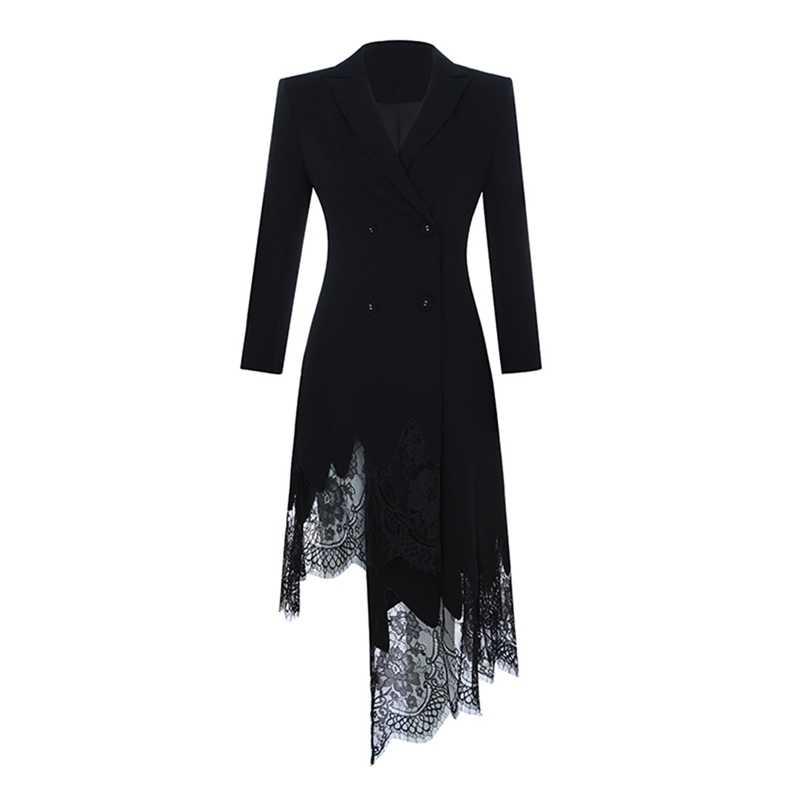 מקסימום Spri 2019 חדש עזיבות שחור חליפת שמלת V צוואר ארוך שרוולי כפתור תחרה Aymmetrical מכפלת נשים אופנה לעטוף שמלה