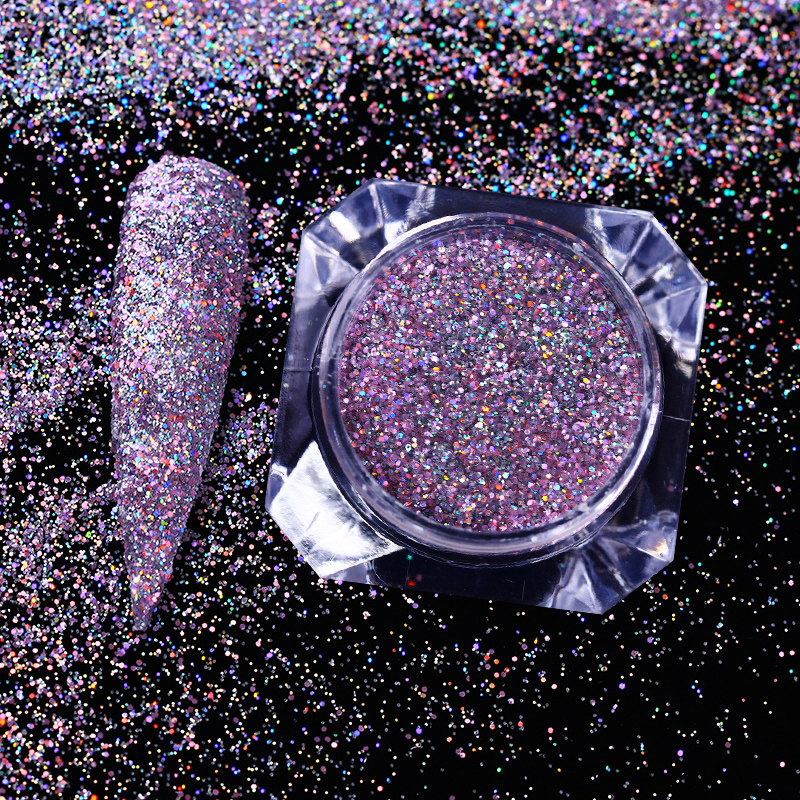 1 Box Holographic Purple Nail Glitters Powder Laser Flakes Rainbow Holo Dust Nail Art Sequins Manicure
