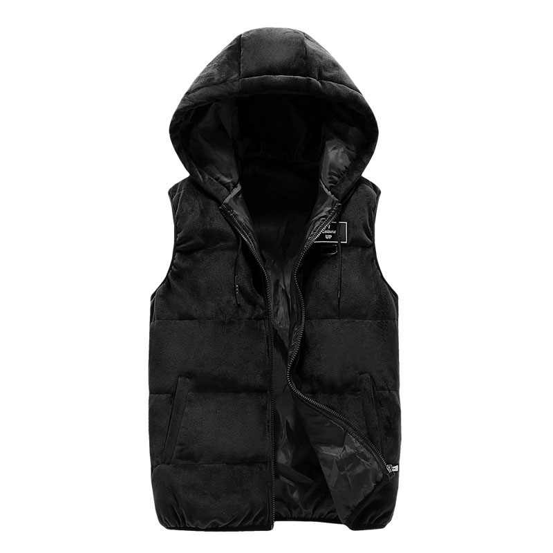 Pleuche Baumwolle Weste 2019 Herbst Winter Weste Dünne Beiläufige Ärmellose Jacke Solide Heißer Verkauf Männlichen Outwear Plus M-7XL Größe Westen