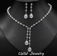 Sparkling 4 Leaf Shape Dangling Wedding Necklace And Earrings Bridal CZ Diamond Jewelry Sets For Wedding