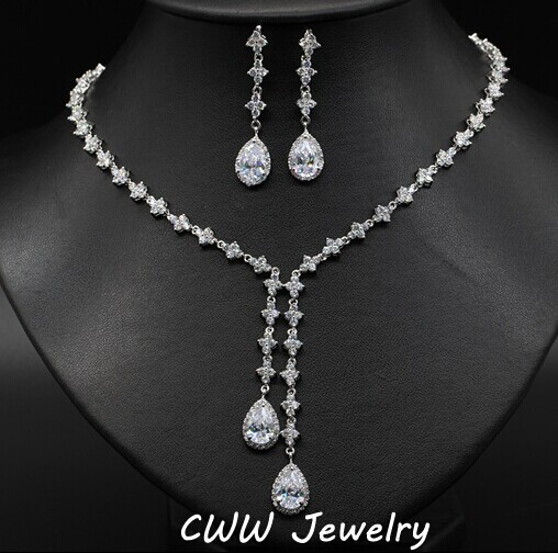 Sparkling 4 Leaf Shape Dangling Wedding Necklace And Earrings Bridal Cubic Zircon Stone Jewelry Sets For Wedding Party T101