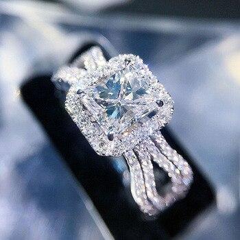 c428d3aa28b3 Cener 1ct 6mm 18 K oro blanco DF Color princesa corte Moissanite Halo anillo  Engagment anillo de boda para las mujeres