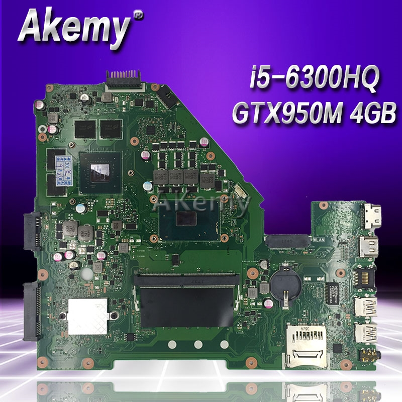 Akemy X550VX Laptop Motherboard For ASUS K550VX X550VX X550VQ FH5900V Mainboard REV 2.0 i5-6300HQ 4GB RAM GTX950M