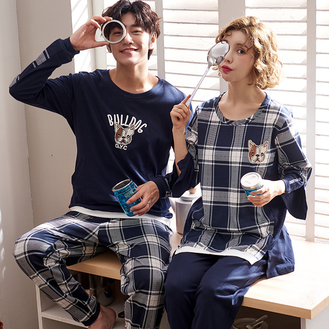 J&Q new men & women nightgowns matching couples pajamas cotton plaid sleepwear leisure homewear nightie pajamas suits for couple