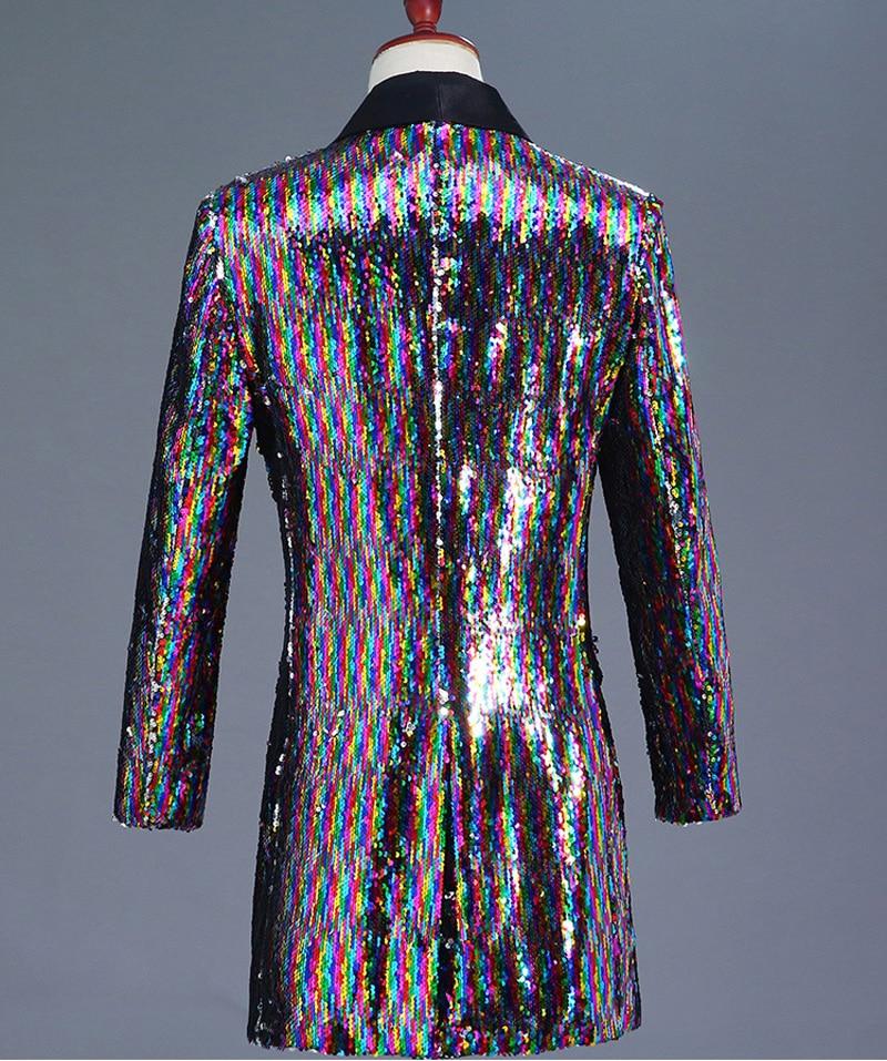 Erkek Kıyafeti'ten Blazerler'de Erkek Gökkuşağı Değişen Renk Pullu Şal Yaka Uzun Blazer Ceket Parti Sahne Şarkıcı Ana Gece Kulübü Takım Elbise Blazer Kostüm Homme'da  Grup 2
