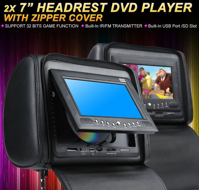 one pair 7inch car headrest DVD player,1 DVD player + 1 monitor,with zipper cover,USB/SD ...