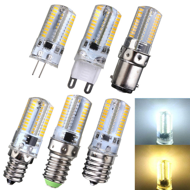 3W LED Light Bulb Dimmable G4 G9 E12 E14 E17 BA15D 80LED 3014 SMD Corn Light Spotlight Bulb Silicone Crystal Lighting AC110/220V 14 15 3 2015