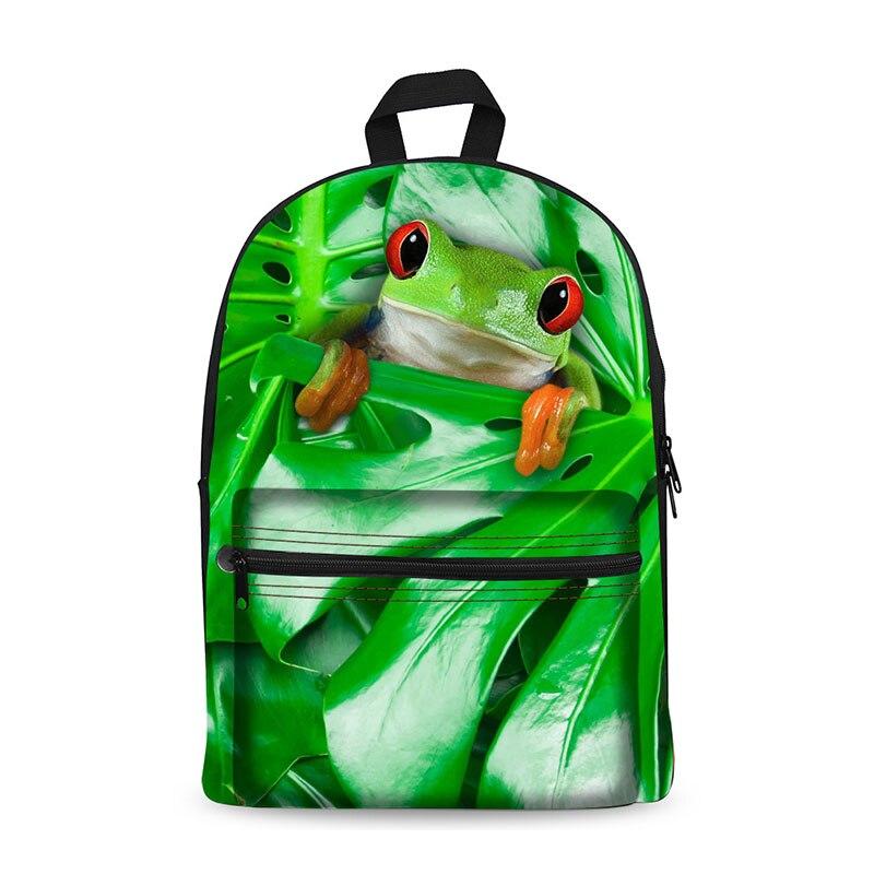3D Frog Prints Canvas Backpack Kanken Travel Back Bag Rucksack Mochila Escolar Rodinha Feminina
