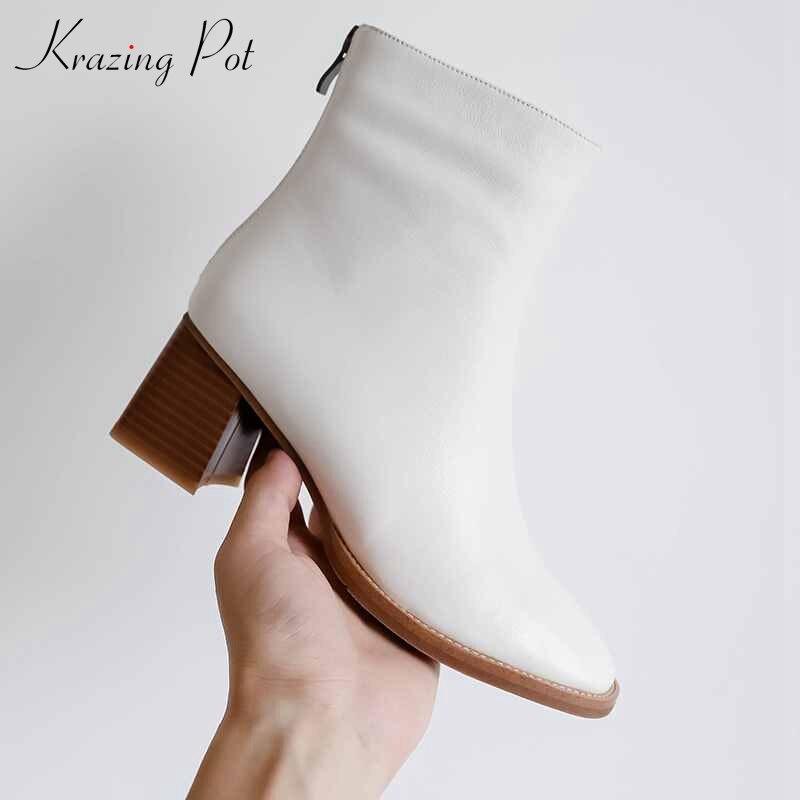 Krazing Pot cow natural leather keep warm round toe high heel European luxury boots beige black