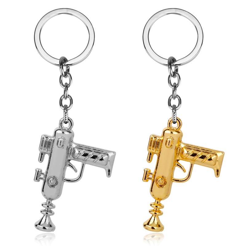 Wholesale Jewelry Anime Rick and Morty Portal Machine Gun Keychain Weapon Gun Pendant Key Chain Keyring Car Key Holder For Men все цены