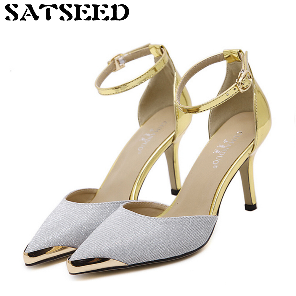 Womens Sandals Summer 2017 New Sexy Sandals High-heels Office Shoes Dress Golden Wedding Shoes Pointed Toe Heels Buckle Fashion 2017 summer new sandals exposed toe high heels female sexy thick with buckle shoes wholesale