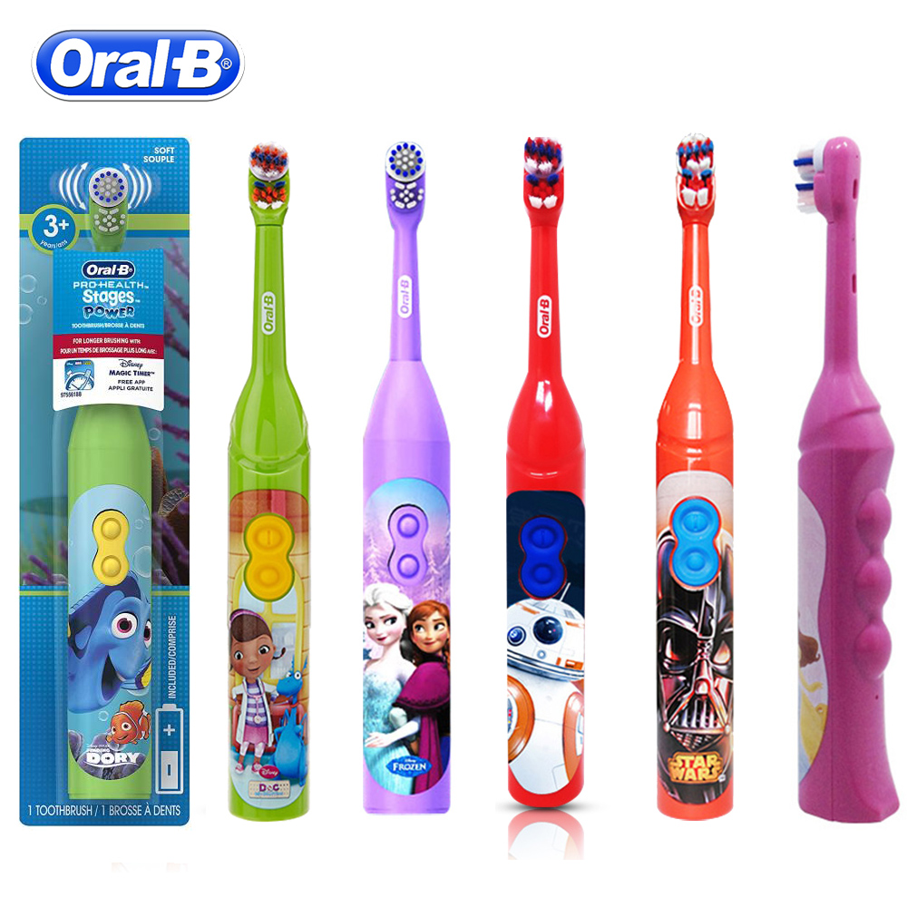 Oral B Children Sonic Electric Toothbrush Kids Cross Action Oral Hygiene Battery Power Cartoon Soft Brush Teeth Head For Child