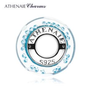 Image 3 - Athenaie novo 925 prata esterlina bebê pegada murano contas de vidro azul encantos caber encantos pulseiras & colares jóias fazendo
