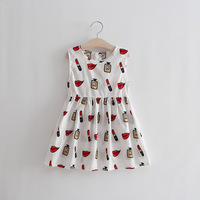 New Summer Cotton Sleeveless Dress Lovely Lipstick Lip Floral Party Princess Dress Girls Baby Kids Clothes