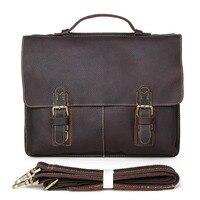 Hot Sale Crazy Horse Leather Men S Dark Brown Briefcase Handbag Laptop Bag Messenger Men 7090R