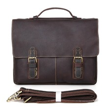 купить Hot Sale Crazy Horse Leather Men's Dark Brown Briefcase Handbag Laptop Bag Messenger men #7090R по цене 5866.57 рублей