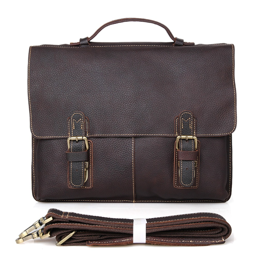 Hot Sale Genuine Cow Leather Men's Dark Brown Briefcase Handbag Laptop Bag Messenger men 7090R