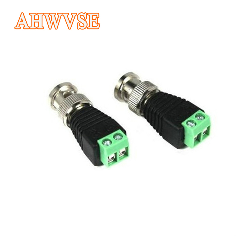 AHWVSE 2pcs Mini Coax BNC Connector UTP Video Balun Connector BNC Plug DC Adapter For CCTV Camera