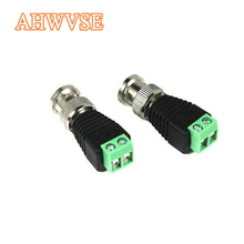 Ahwvse 2 pces mini conector bnc coaxial utp vídeo balun conector bnc plugue adaptador dc para câmera cctv