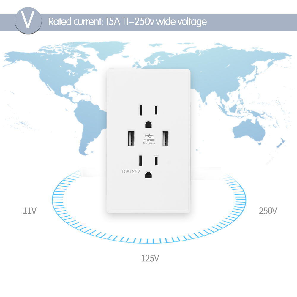 FORNORM Standard Dual USB Wall Outlets Electrical Outlet Anti Fire ...