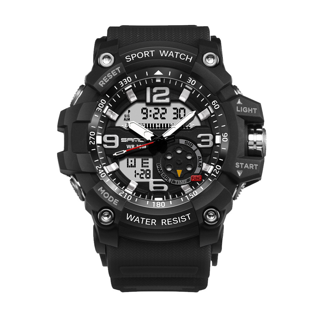 Digital Analog Dual Time Sport Watch Zones Calendar Chronograph Military Resin Wrist Watch Men 32