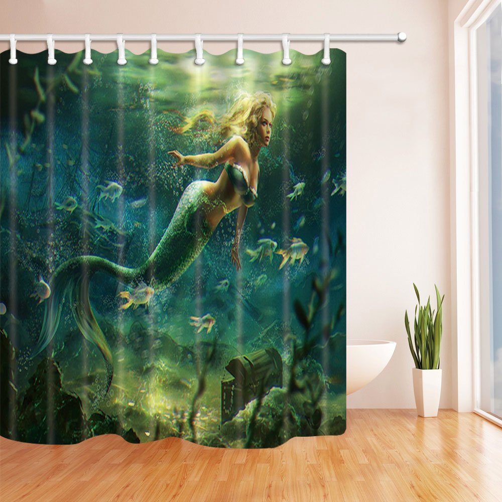 Beautiful Mermaid Fishes Decor Waterproof Polyester Fabric Shower Curtains For Bathroom Curtain 69X70 InBlonde Green In From Home