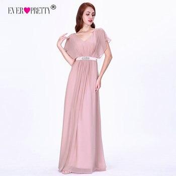 a956bf9ff1b2 Vestidos de Noche rosados largos siempre bonitos EZ07717 elegante Línea A  de gasa de manga corta con cuello en V con cuentas vestido de noche bata de  ...