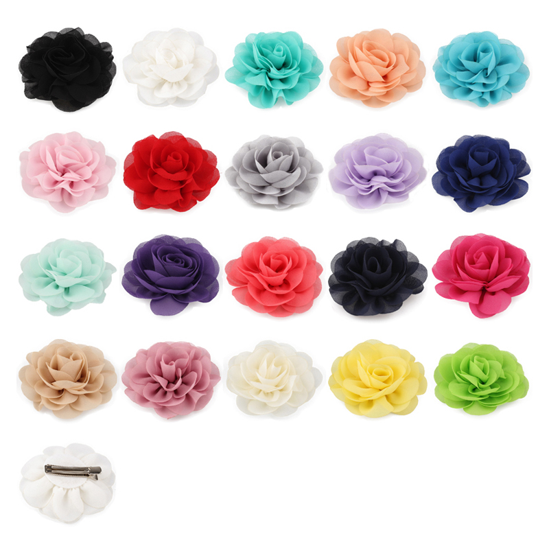 120pcs lot 20colors 8 5cm Chiffon Petals Poppy Flower Hair Clips Rolled Rose Fabric Hair Flowers