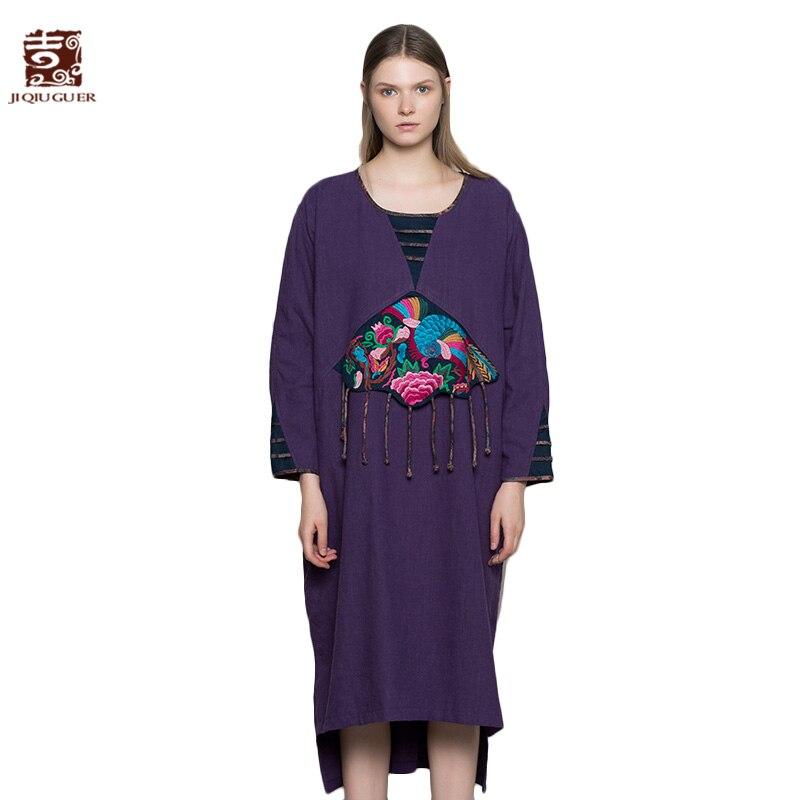 Jiqiuguer женское платье с вышивкой в виде животных Винтажное с круглым вырезом асимметричное разделение кисточка Свободные Длинные повседнев