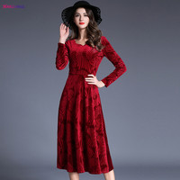 HANZANGL 2017 Autumn Winter Women Dress Elegant Velvet Long Sleeve Red Maxi Long Warm Dress Vintage