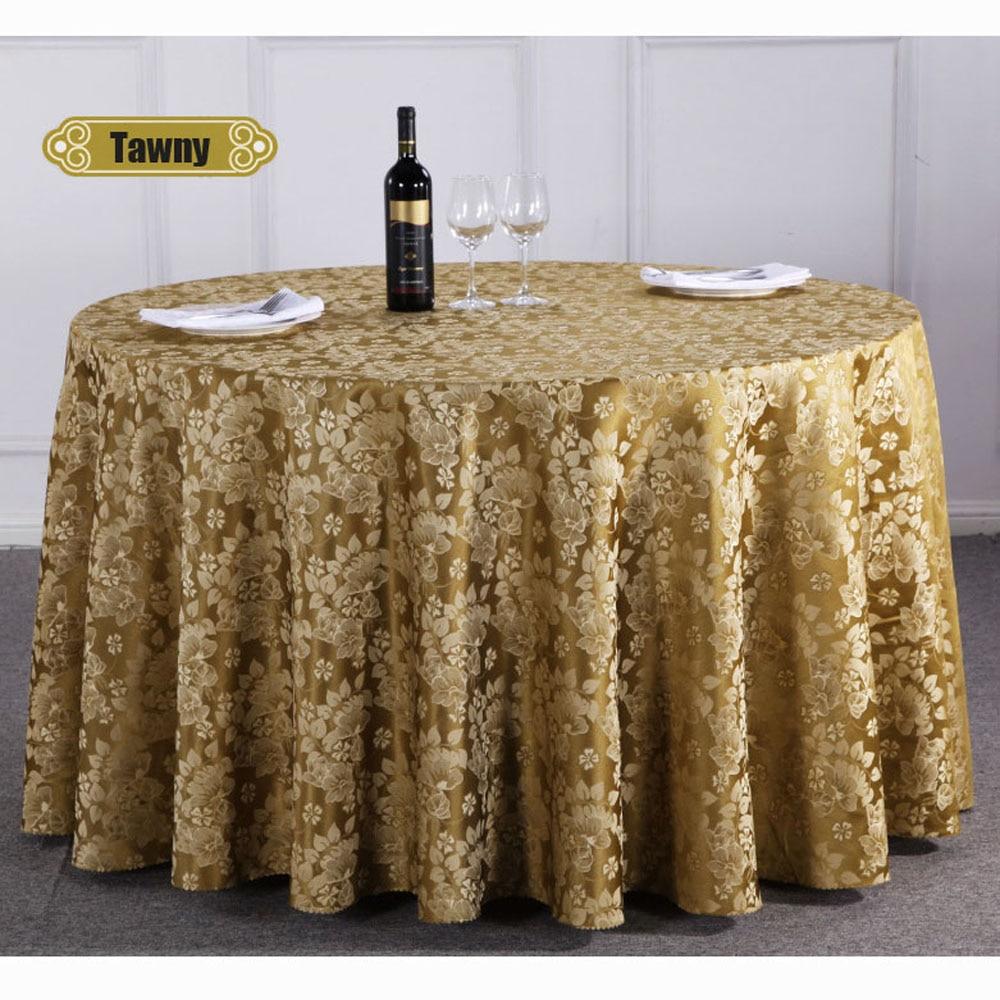 1 Pc Chinese Luxe Bloemen Hotel Banket Tafelkleed Ronde Westerse Restaurant Polyester Tafelkleed Thuis Tafel Cover Koffie/geel Duidelijk Effect