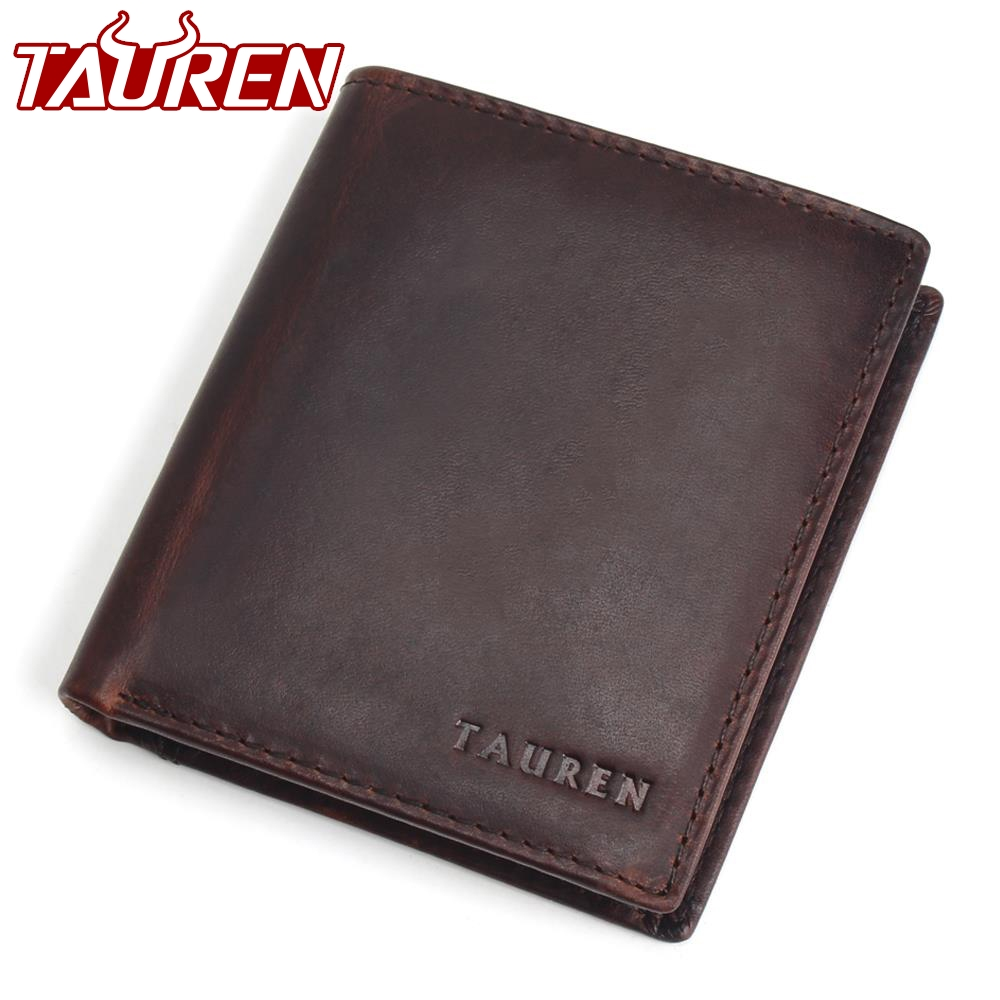 купить TAUREN Men Wallets Vintage Crazy Horse Genuine Leather Zipper Wallet Card Holder Coin Pocket Men's Purse Male Carteira недорого