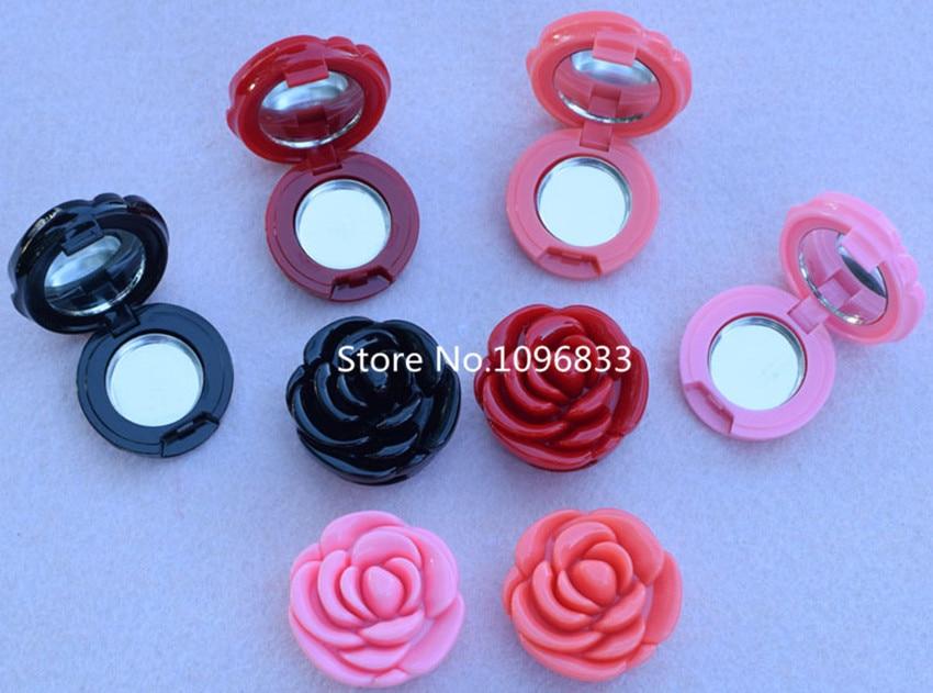 50Pcs Fashion Empty Flower Shape Eyeshadow Powder Case Elegant DIY Blush Compact Plastic Rose Shape Lipstick