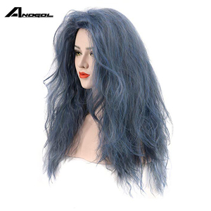 Image 3 - Anogol Brand New Witch of the Black Forestn Blue Curly Into the Woods Synthetic Cosplay Wig For Japanese Anime Costume Role Play
