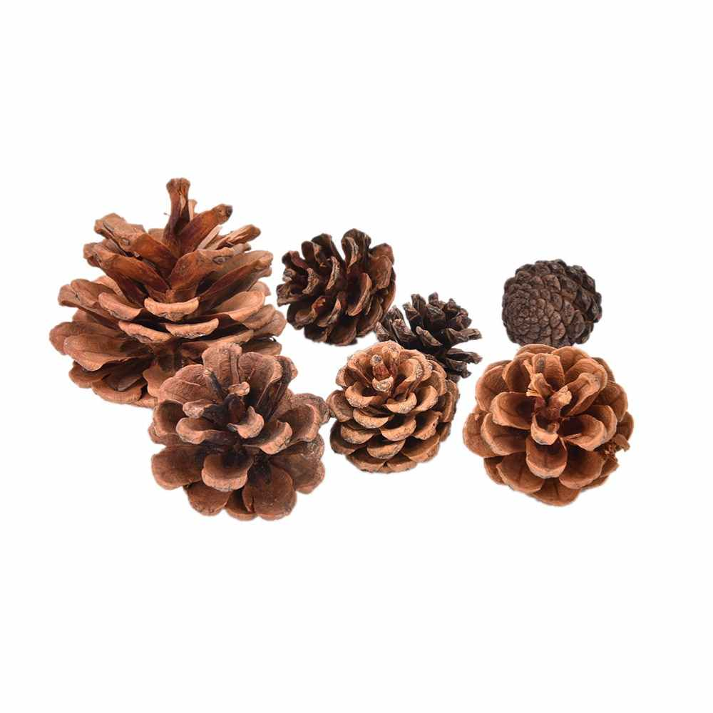 2-3cm 4-5cm Wood Pinecone Balls For Home Office Party Decoration Ornament Christmas Tree Hanging Pine Cones 10pcs/Set