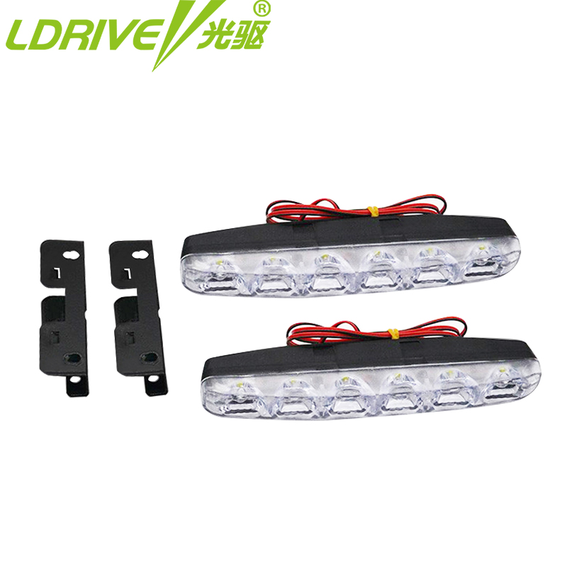 2PC/lot 12V  Universal car 6 LED Daytime Running Light DRL Fog lights - Car Lights - Photo 6