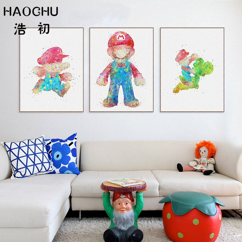 Haochu акварель японской поп-игры Книги по искусству печать плакат c Книги по искусству Ун сантехников динозавров стены картина холст роспись ...