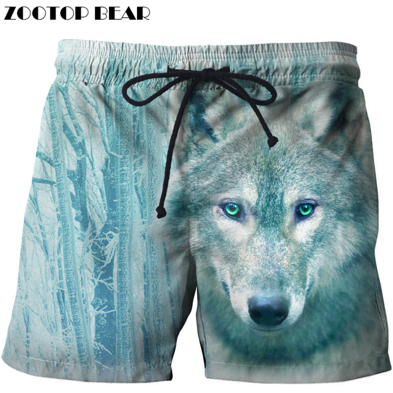 48fffb8719 Funny Wolf Printed Beach Shorts Men Board Shorts Masculino Homme 3d Short  Plage Quick Dry Swimwear Harajuku DropShip ZOOTOPBEAR
