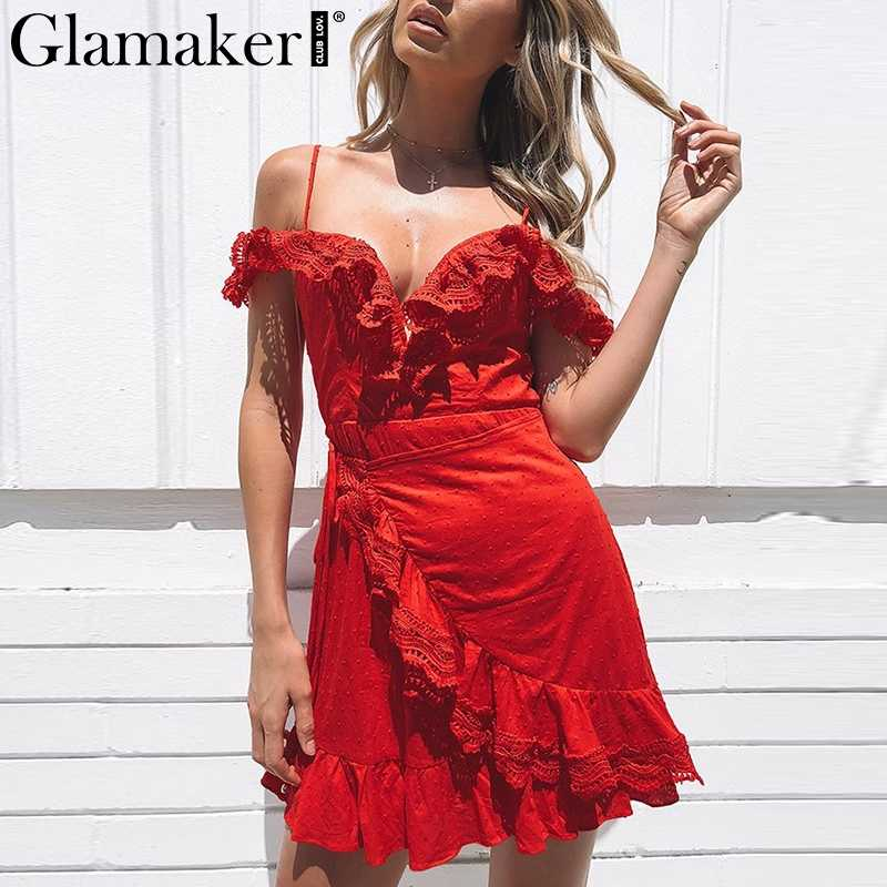 Glamaker Ruffles sexy bandage dress Phụ Nữ v cổ không tay bodycon váy Mùa Hè backless câu lạc bộ bên kỳ nghỉ bãi biển mini dress