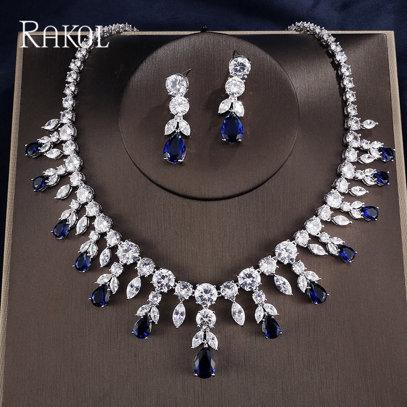 RAKOL Fashion Shining Cubic Zircon Wedding Jewelry Set For Bridal Flower Shape With Blue Crystal Pendants Earrings Necklaces rakol 2018 new wedding costume accessories heart shape cubic zircon crystal bridal earrings and rhinestone necklace jewelry set