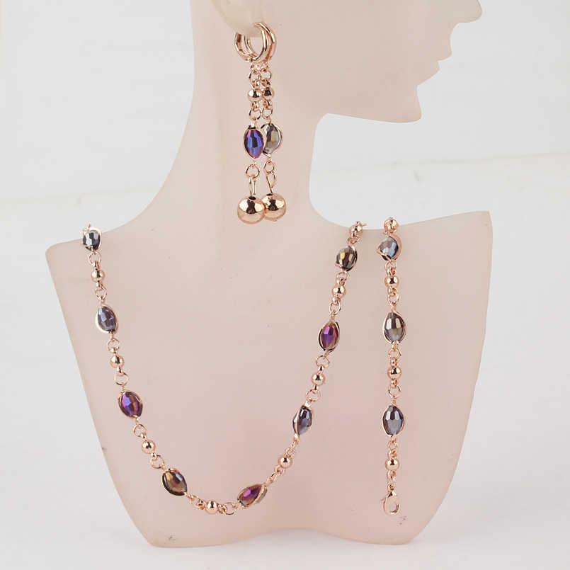 Conjuntos de joyería de cuentas africanas de cristal a la moda, conjuntos de joyería de Color dorado para boda, conjuntos de joyería para mujer, collar, pendientes, pulseras, joyería