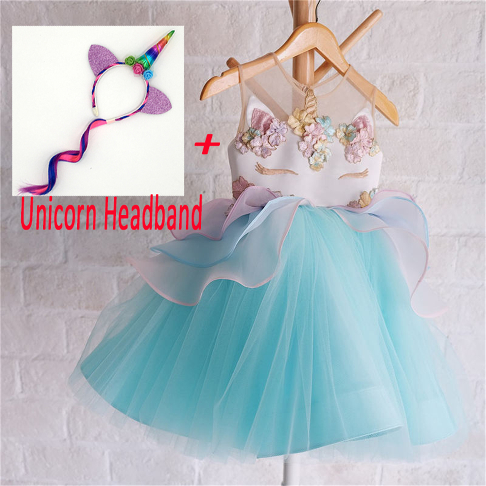 Fancy Girls Unicorn Dress Children Tulle Bustle Tutu Dress Girls Little Pony Birthday Party Dress Embroidery Fluffy Ball Gown